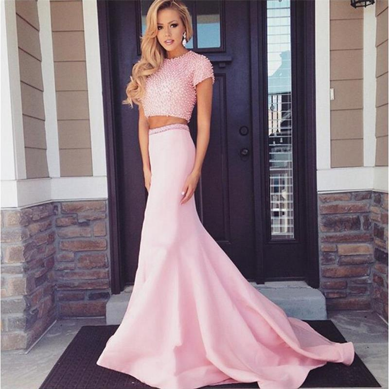 Popular 2 Piece Short Pink Prom Dress-Buy Cheap 2 Piece Short Pink ...