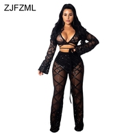 Sparkly Sequins Sheer Mesh Plaid Two Piece Set Women Deep V Necck Flare Sleeve Crop Tops And See Through Wide Leg Pants Outfits