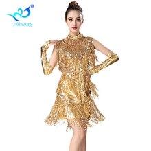 Flickor Latin Dance Kostym Prestanda Klänning Dam Salsa Dancer Tävling Outfits Samba Sequines 3st med Halsband Handskar