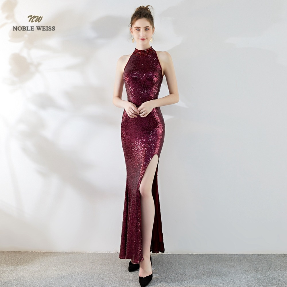 Sexy   Prom     Dress   Sequin See Through Back Split Simple Long Beading Mermaid Party/  Prom     Dresses