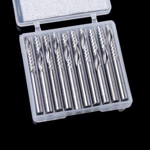 Image 1 - 10 Pcs 4mm Shank יחיד חליל קרביד ספירלה סוף מיל קאטר CNC נתב Bits 22mm CEL