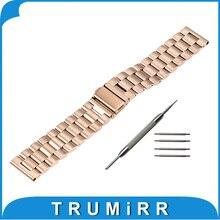 Bracelet En Acier inoxydable 22mm 24mm Universel Montre de Courroie De Bande Bracelet avec Lien Removal Tool Printemps Bar Noir Rose or Argent