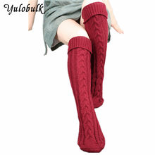 Knee High Socks Over Knee Socks Thigh High Stockings Sexy White Black Red Stockings Long Socks Knit Leg Warmers Thick Boot Socks(China)