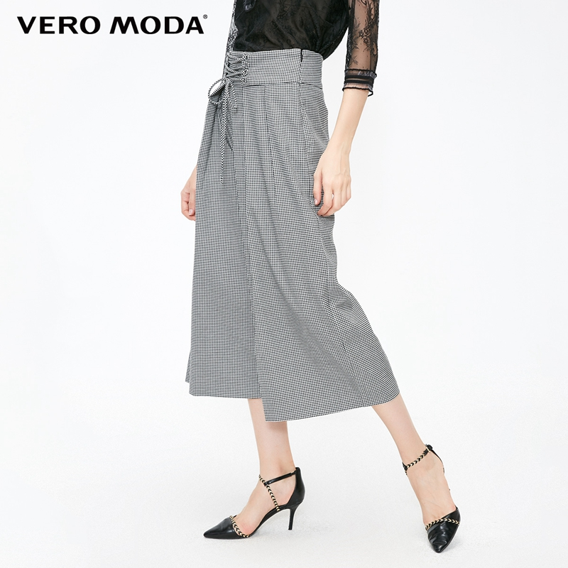 Vero Moda New Women's Lace-up Waist Houndstooth Wide-leg Capri Leisure Pants   31836J550