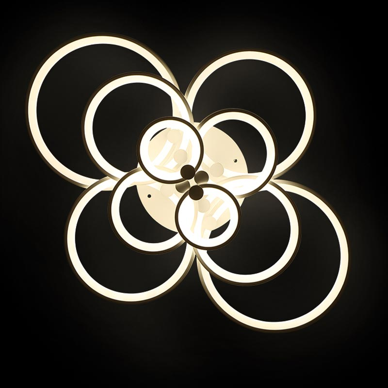 36W Led Lamp Modern Living Room Bedroom Kitchen Ceiling Light Fixtures 6 Rings White Iron Acrylic Decor Home Lighting 220V modern 20w led lamp bedroom living room stair kitchen ceiling light fixtures black white iron acrylic indoor home lighting 220v
