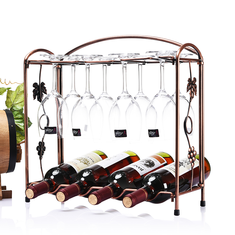 European Rose Golden Iron Electroplate Folding Red Wine Rack Fove Bottle Holder and Fove Cup holder More Type Can Be Choose