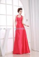 hot sale Promotion Halter Femininos free Shipping Vestidos Quality Designer Bride Maid Party Long Taffeta blush bridesmaid dress