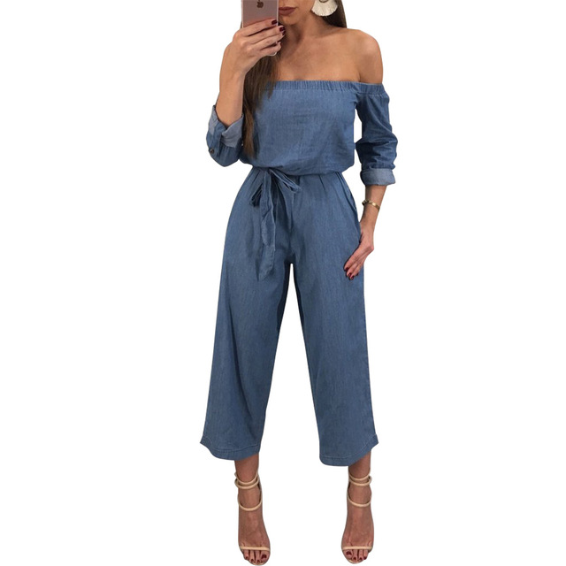 c9a61724d9d Casual Loose Woman Jumpsuit Romper 2018 Elegant Off Shoulder Denim Body  Suits for Women Wide Leg