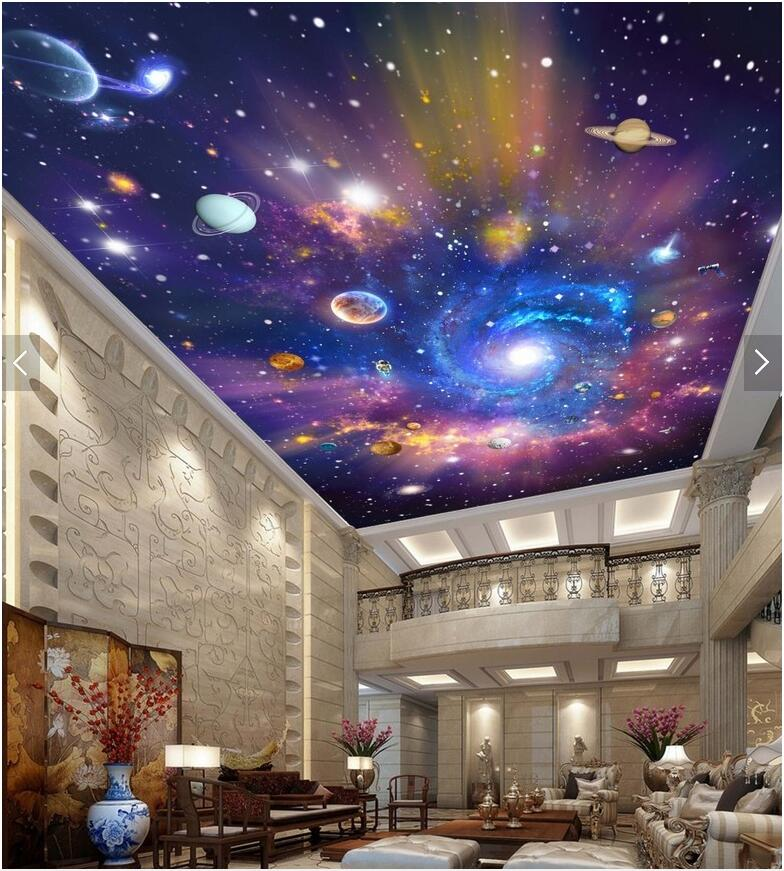 Custom photo 3d ceiling murals wallpaper picture Star of the universe Galaxy room decoration painting wallpaper for walls 3d 3d ceiling murals wallpaper custom photo room european ceiling spelling a flower painting 3d wall murals wallpaper for walls 3 d