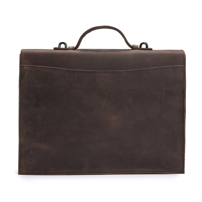 Men 39 s Briefcase Bag 2018 Business Genuine Leather Luxury Shoulder Laptop Messenger Bag Crazy Horse Office Large Capacity Maleta in Briefcases from Luggage amp Bags