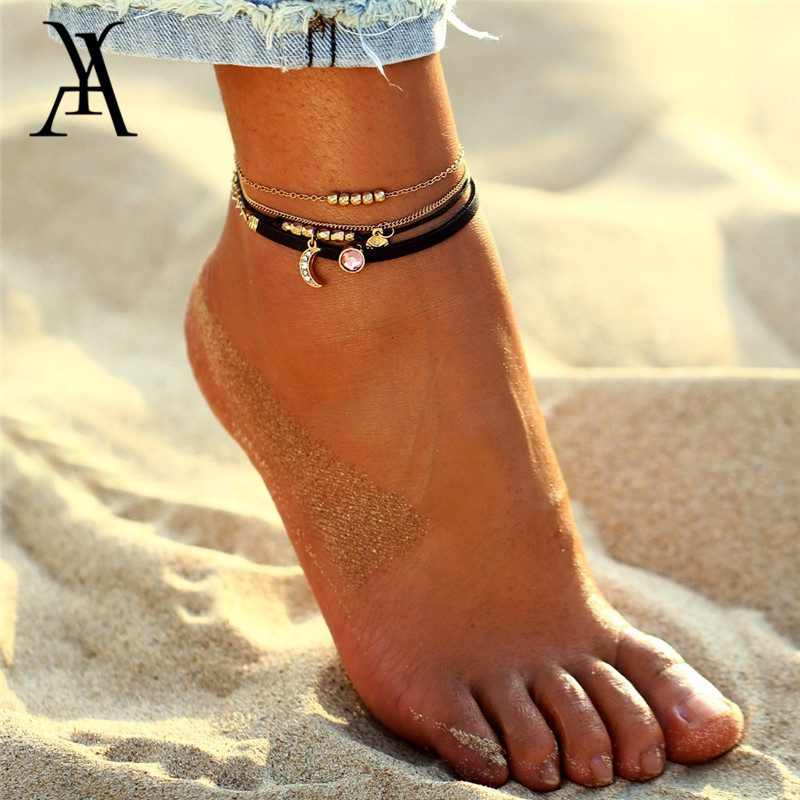 Fashion Moon Coin Pendant Anklet Bracelets For Women Charm Pink Crystal Beads Anklets Vintage Multi Layer Leg Chain Jewelry Gift