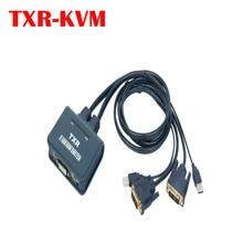 2-портовый многофункциональный DVI KVM-переключатель с USB-мышью и клавиатурой  совместное