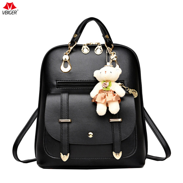 0666ac29386e Vbiger Women PU Leather Backpack Classic School Shoulders Bag Trendy Travel  Backpacks Casual Daypack with Little Bear Pendant