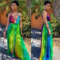 Spaghetti Strap Sexy Rainbow Color Maxi Dress Summer Deep V Neck Backless Holiday Sundress 2019 Empire Chiffon Party Robe DF6012