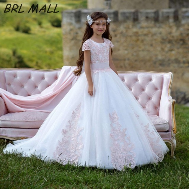 10ac4bc0d Cute Pink Lace Appliques Short Sleeves Flower Girl Dresses 2019 First  communion dresses Kids Ball Gown pageant dresses for girls
