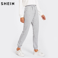 SHEIN Grey Mid Waist Pearl Beading Heathered Knit Sweatpants Pants Trousers Women Drawstring Waist Casual Pants