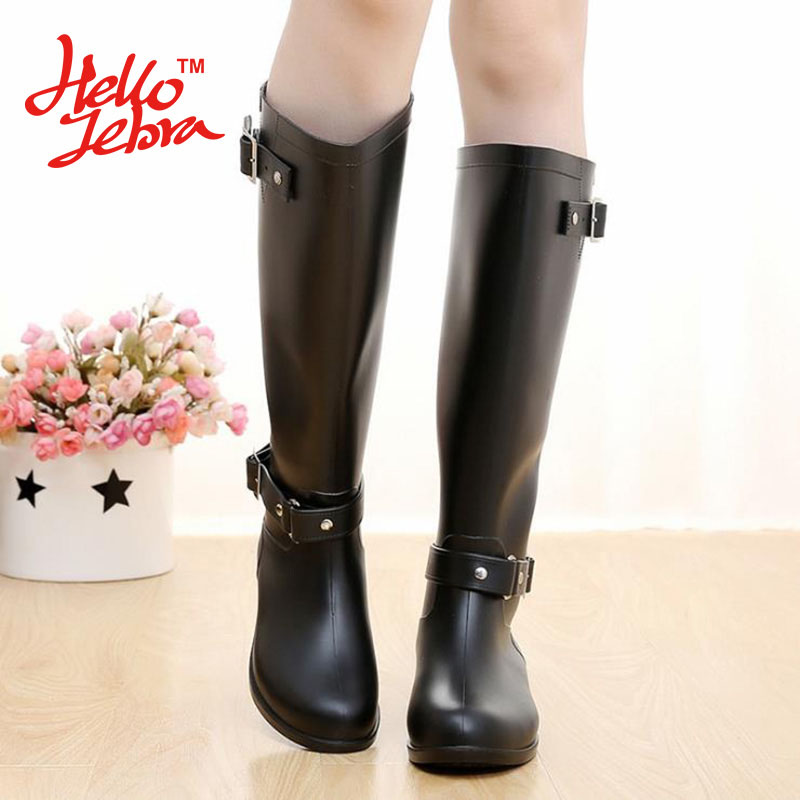 Hellozebra Women Winter Rain Boots Lady Knee High With Zip Comfortable Solid Charm Waterproof Rainboots 2016 New Fashion Design 2016 fashion waterproof high style women hunting rain boots women water shoes winter rainboots