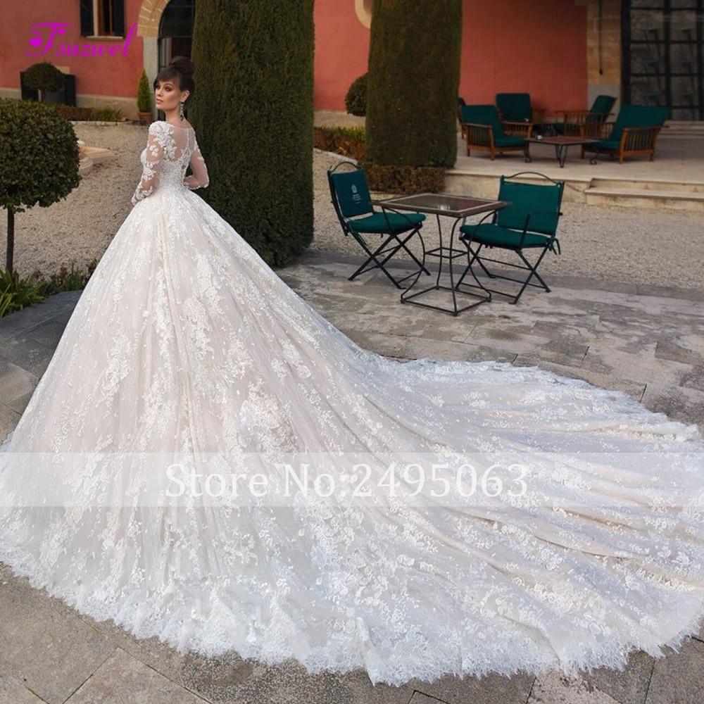 Glamorous Appliques Royal Train Lace A-Line Wedding Dress 2019 Fashion Scoop Neck Long Sleeve Beaded Bride Gown Vestido de Noiva