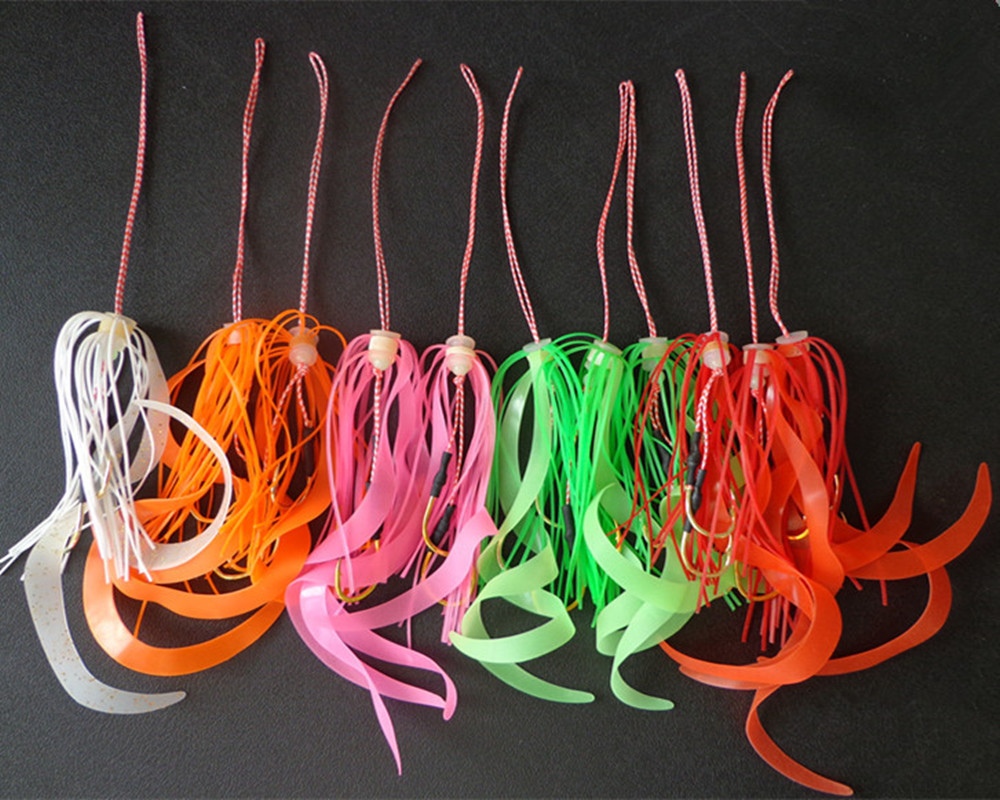 50pcs Silicone Skirt Assist hook jigging hook sea fishing hook Jig head fishing hook super strong