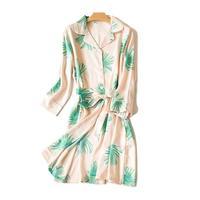 Elegant Lady Shirt Silk Dress Sexy Soft Leaves Printed Luxury Pajams Belt Satin Robes Women S