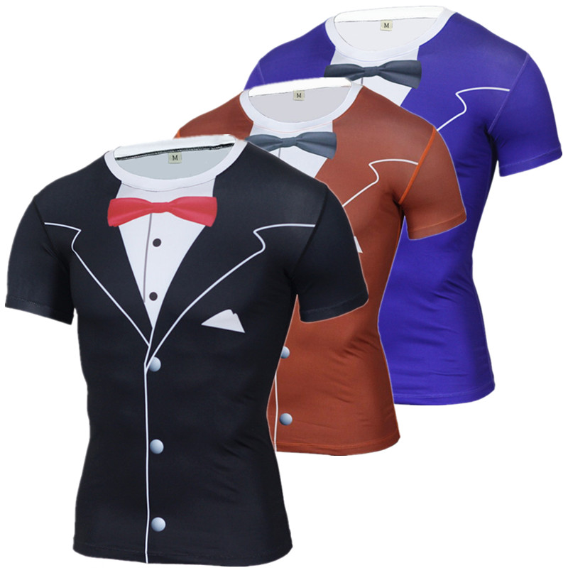 2016 funny t shirt men luxury tuxedo 3d printed t shirts for Compressed promotional t shirts