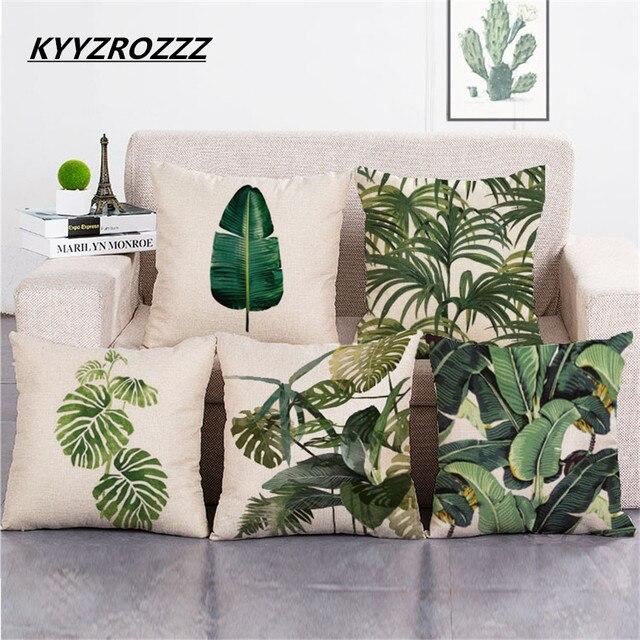 Afrika Tropische Pflanze Gedruckt Polsterbezüge Grüne Blätter Leinen ...