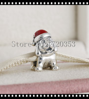 Puppy Wear Red Enamel Hat Dog Charms 925 Sterling Silver 2015 Winter New Christmas Animal Charms