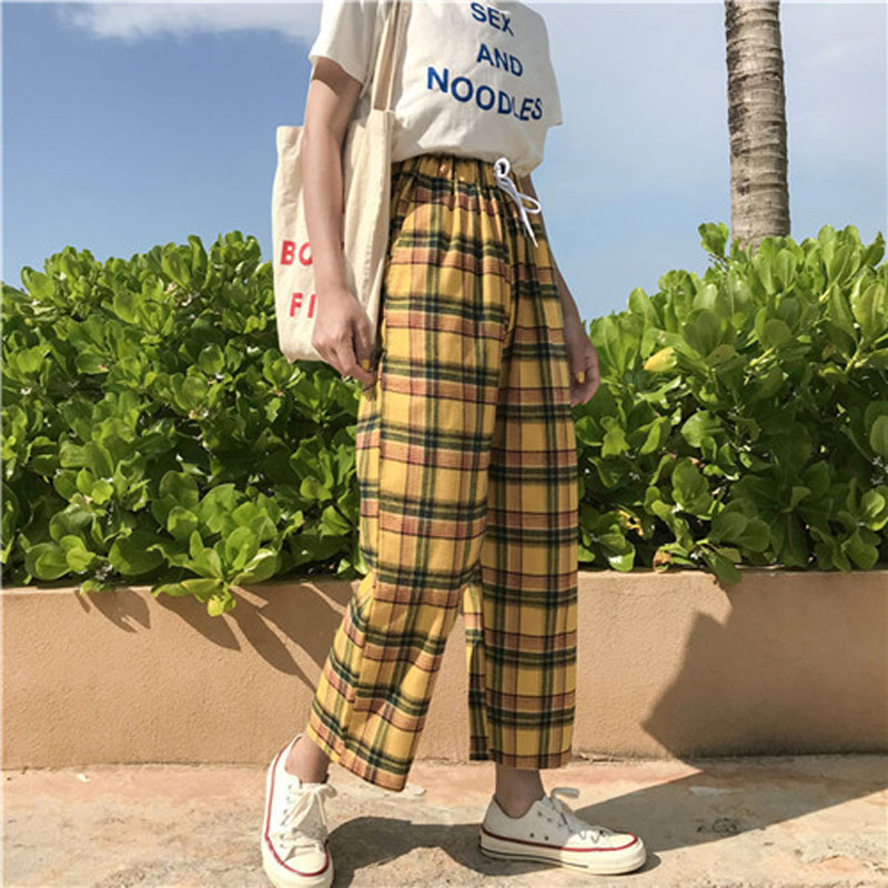 2019 Summer Japanese Style Women Yellow   Pants   Spring High Waist Tie Stripe Plaid Cotton Trousers Women Loose   Wide     Leg     Pant