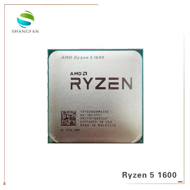 AMD Ryzen 5 1600 R5 1600 3.2 GHz Six-Core Twelve Thread 65W CPU Processor YD1600BBM6IAE Socket AM4