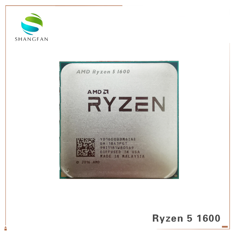 AMD Ryzen 5 1600 R5 1600 3.2 GHz Six-Core Twelve Thread 65W CPU Processor YD1600BBM6IAE Socket AM4 image