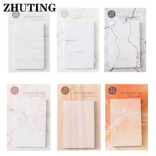 6Pcs/Bag Portable Sticky Notes Memo With Marble Grain For Reminding Plan Schedule Office Writing Stationery
