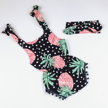 Cute Baby Girl Fruit Print Cotton Rompers Newborn Pom Pom Romper With Headband Birthday Outfit Infant Clothes Baby