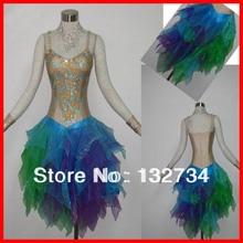 Latin Salsa Tango Rumba Cha Cha Costumes Modern Exercise Ballroom feaher Dance Women Mini Latin Skirt Dress Dance Wear LD-021