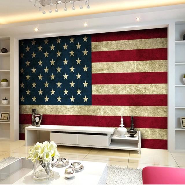 Custom Wall Mural Bathroom Bedroom American Flag Painted