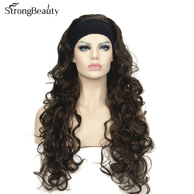3/4 Band Headband wig Women's Dark brown Long Curly Wigs