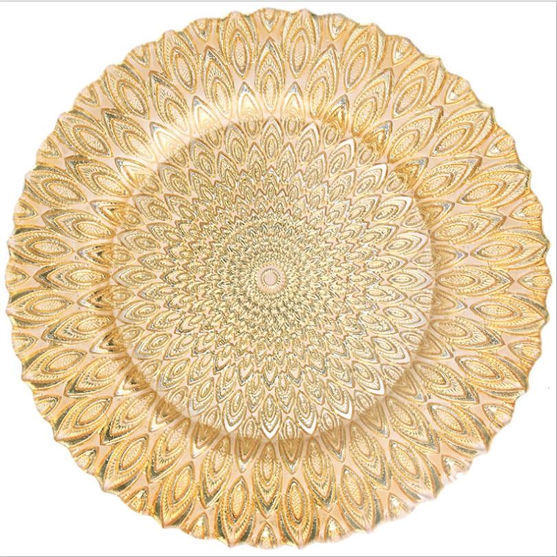 الزجاج يتوهم تصميم الطاووس نمط ألواح الشاحن ل حدث حفل زفاف الديكور الذهب الفضة أطباق عشاء-في أدراج التخزين من المنزل والحديقة على  مجموعة 1
