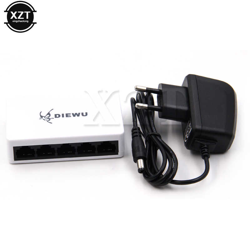 Fessionale 1 pz 5 porte Switch di Rete Fast Ethernet 10/1Pro00Mbps LAN RJ45 Hub Switcher con US EU Power adapter PER Desktop PC