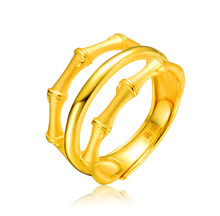 73e08d8c3 999 Sólidos 24 K Amarelo Anel de Ouro Banda Anel De Bambu da Sorte 6.26g