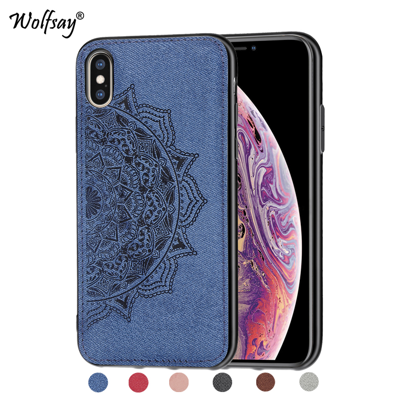 For iPhone Xs Max Shockproof Soft TPU Cloth Texture Hard Back Phone Case Cover Apple Fundas