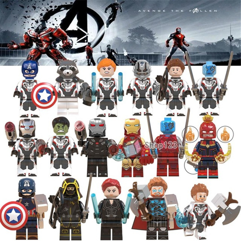Endgame Minifigured Thanos Thor Iron Man Cap Marvel Black Widow Ronin Avengers 4 Building Blocks Toys For Children WM6056 WM6061