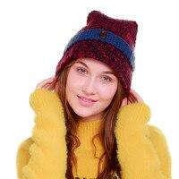ChamsGend 2017 נשים חמה למכירה סרוגה חורף צמר לסרוג סקי כפת גולגולת כובע מחודד Dropship 171013