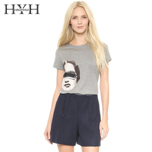 HYH HAOYIHUI 2018 New Fashion Short Sleeve Street Style Graphic Funny Print Tees Casual Loose Women T-shirt