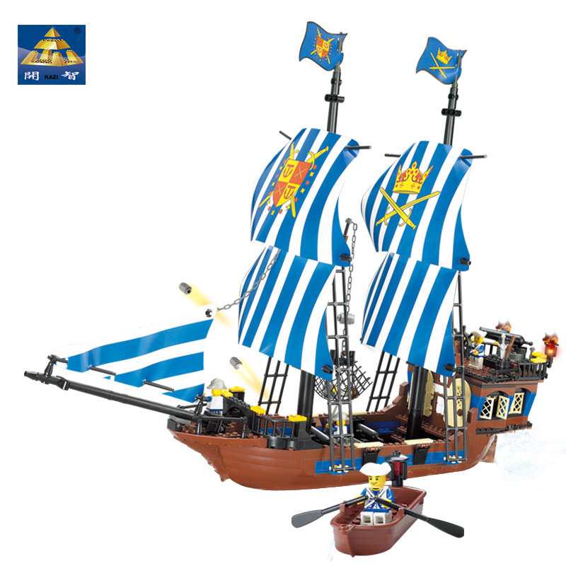 KAZI Assemble Building Block Pirate Kingdom Ship Division Golden Shield Number Children Assembling Toys lepin 22001 pirate ship imperial warships model building block briks toys gift 1717pcs compatible legoed 10210