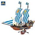 KAZI Assemble Building Block Pirate Kingdom Ship Division Golden Shield Number Children Assembling Toys