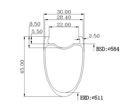 OEM 650B 30X45mm 27.5er carbon clincher tubeless rim for gravel/muddy/grassland bike wheel special disc brake without brake line
