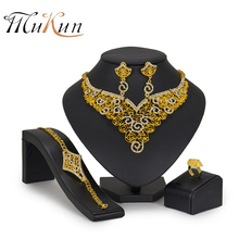 MUKUN 2018 Exquisite African Beads Jewelry Set brand Design Luxury Gold color Big Nigerian Wedding Dubai Wholesale