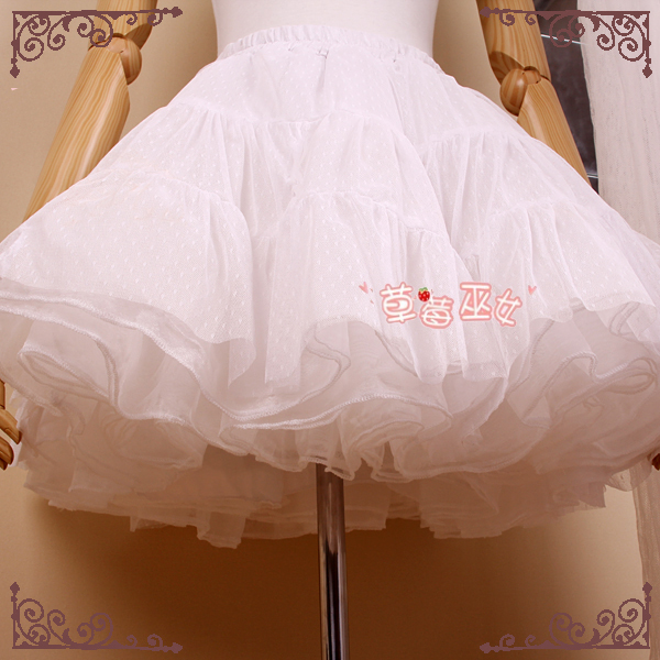 Rokabilitas Pettiskirt Pendek Garis Layered Lolita Petticoat oleh Strawberry Witch