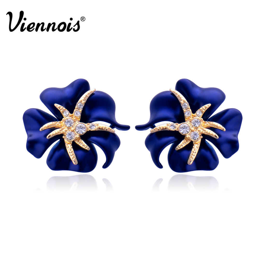 Viennois Gold Color Flower Stud Earrings For Woman Full Rhinestone Navy Blue Red Sea Starry Night Bloom In From Jewelry