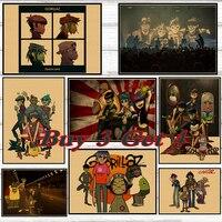 Gorillaz urchina hip-hop rap Rock banda de música retro Kraft póster Bar Café dormitorio arte póster 42*30 cm No marco