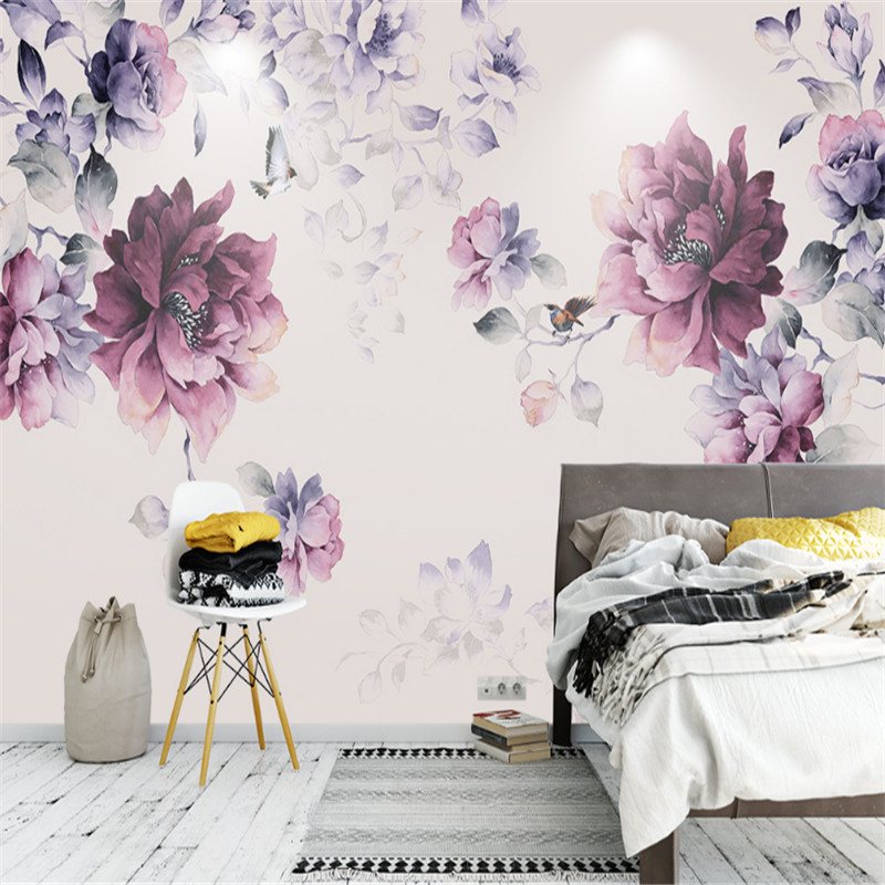 Flower Wallpaper Black and Purple Wallpaper Photo Wall ...